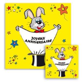 "Foulard Lapin ""Joyeux Anniversaire"""