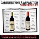 Carte des vins à apparition (5 bouteilles)