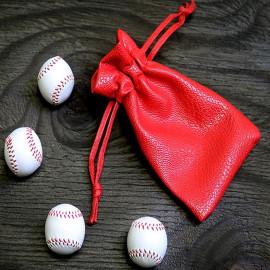 Set de 4 baseballs blanches en cuir