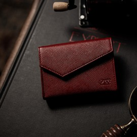 Luxury  Leather Playing Card Carrier Rouge